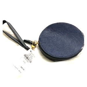 Blue Calf hair and Black Leather Wristlet NWT